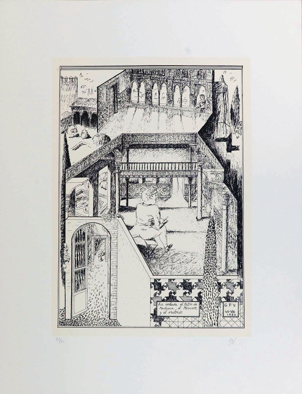 La entrada el Patio de Machucay el Mexuar y el Oratorio