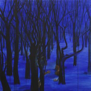 Gran bosque azul. 2010-°©‐2015 Acrílico/ lienzo 195 x 195 cm