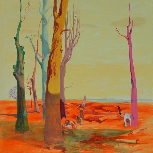 Ejercicios gimnásticos en el bosque. 2013 Acrílico/ lienzo 195 x 195 cm.