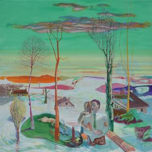 Canto de sirenas. 2013 Acrílico/ lienzo 195 x 195 cm.