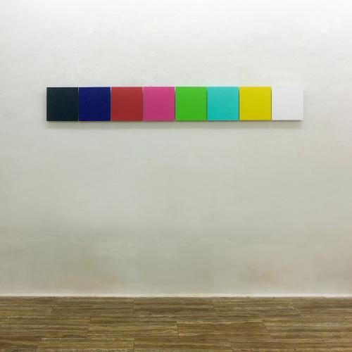 Beatriz Castela ZX Spectrum (colour pallete) Técnica: Pintura vinílica sobre madera. Medidas: 205 x 25 x 4 cm aprox. 2020