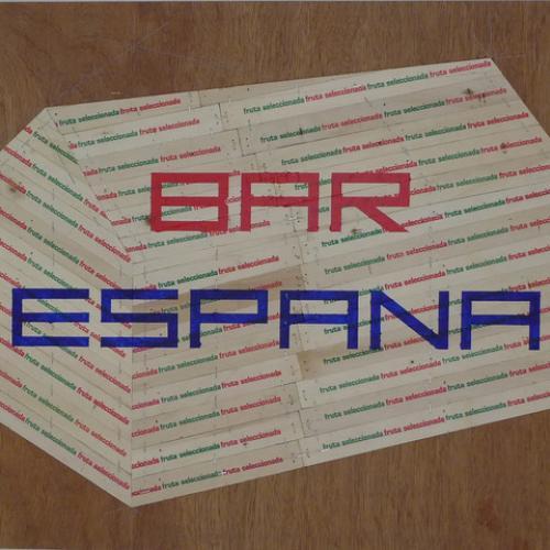 """�R ESPAÑA III"""", 2018 54 X 65 cm. Madera impresa reciclada y pintura."""