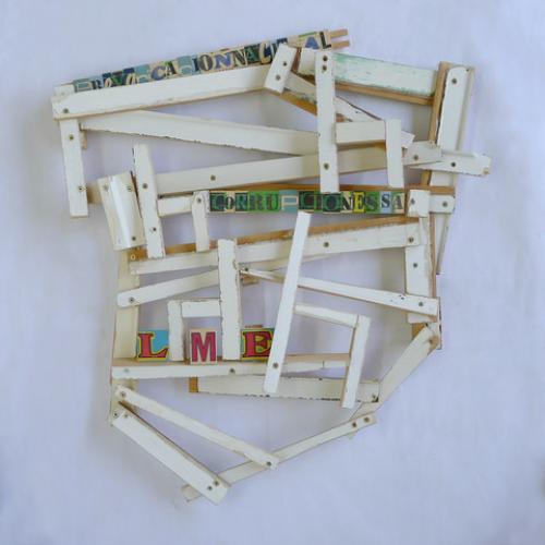 """L.M.E."",  2013 59 x 55 x 7 cm. Madera reciclada."