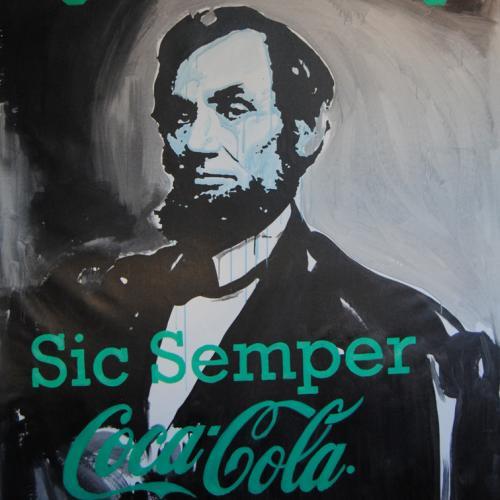 200cm x 150cm - óleo y esmalte sobre lienzo - SIC SEMPER COCA COLA - 2015