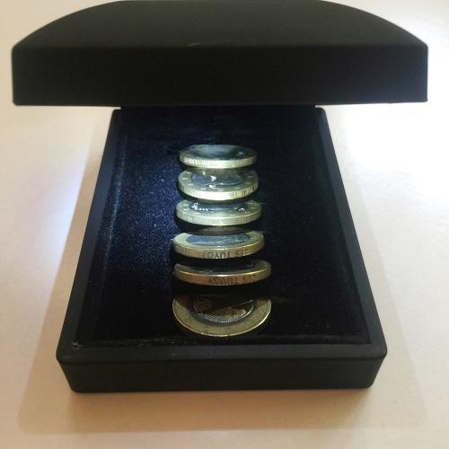 Conciencia monetaria, 2015 juego de 6 monedas de 1 euro con inscripciones grabadas en los cantos, lupa. madera de cerezo, bandas de graduación y espuma alta densidad. 13,5x13,5x16 cm. Ed. 1/10