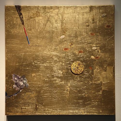 Expresión de pensamiento / Dolor y vida, 2015 Pan de oro y collage sobre tabla 50x50 cm. c/u