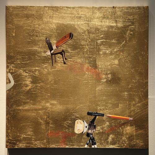 Pan para todos / Invertir el tiempo / Expresión de pensamiento / Dolor y vida, 2015 Pan de oro y collage sobre tabla 50x50 cm. c/u