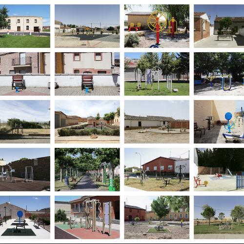 """Archivo Territorio. Proyecto """"In corpore sano"""" (Gimnasia 3ª edad). 156,5x336 cms. (40 fotografías de 29,7x42 cms.) 2016-2020."""