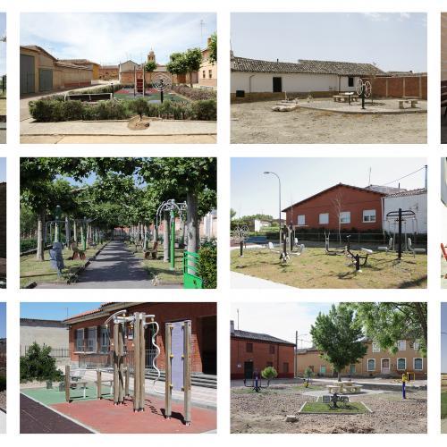 """Archivo Territorio. Proyecto """"In corpore sano"""" (Gimnasia 3ª edad). 156,5x336 cms. (40 fotografías de 29,7x42 cms.) 2016-2020. (Detalle)."""