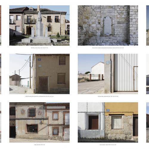 "Archivo Territorio. Proyecto ""Museum. (Un gran museo al aire libre). Franqismo"", 188,2x394 cms. (48 fotografías  fotografías de 29,7x42 cms.) 2016-2020. (Detalle)."
