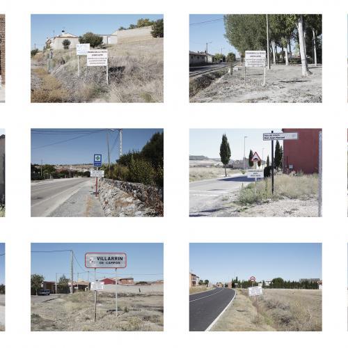 """Archivo Territorio. Proyecto """"Geografía"""" (Prohibida la venta ambulante, Tierra de Campos y Cerrato, Palencia, Valladolid, Burgos y Zamora), 145,5x341.7cms. (65 fotografías de 21x29,7 cms y 11 cartelas con textos de 9x13 cms.) 2016-2018. (Detalle)."""