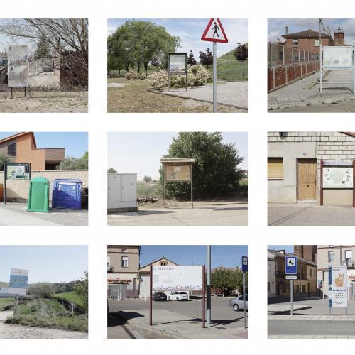 """Archivo Territorio. Proyecto """"Geografía"""" (Cartografías, Tierra de Campos y Cerrato, Palencia), 168x216,9 cms. (48 fotografías de 21x29,7 cms y 7 cartelas con textos de 9x13 cms.) 2016-2018. (Detalle)."""