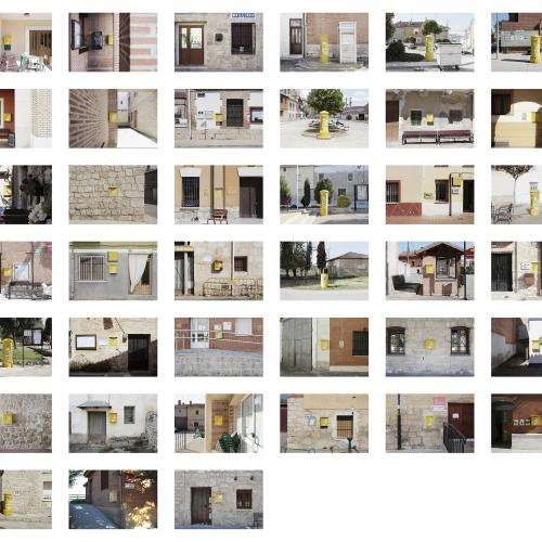 """Archivo Territorio. Proyecto """"Geografía"""" (Buzones,  Cerrato, Palencia), 168x248,1 cms. (51 fotografías de 21x29,7 cms y 7 cartelas con textos de 9x13 cms.) 2016-2017."""