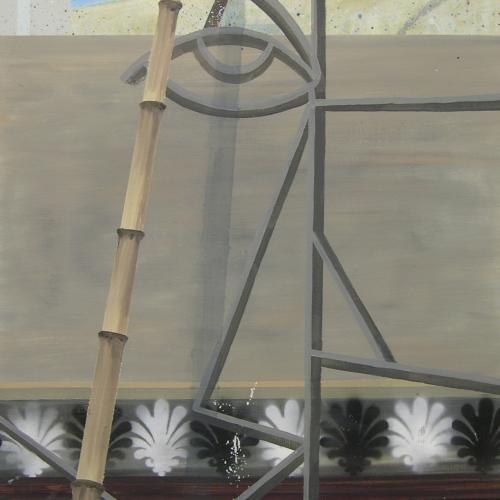 Patio Trasero, 2014. Óleo sobre cartón. 100 x 70 cm.