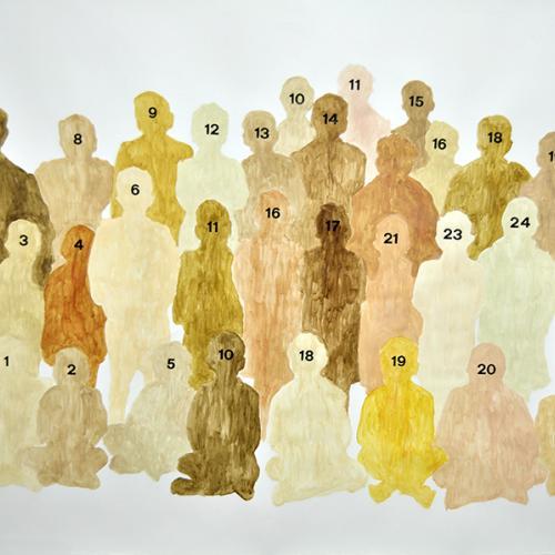 2015  Barnices pigmentados, lápiz y Letraset sobre papel  100 x 70 cm