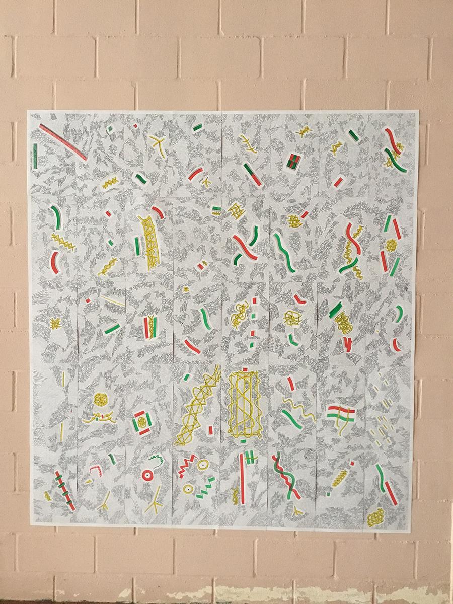 Autor: José Medina Galeote Título: Lisboa Año: 2018 Técnica: Mixta sobre papel satinado Medidas: 40 unidades de 42 x 22 cm. C/U Total: 210 x 176 cm.
