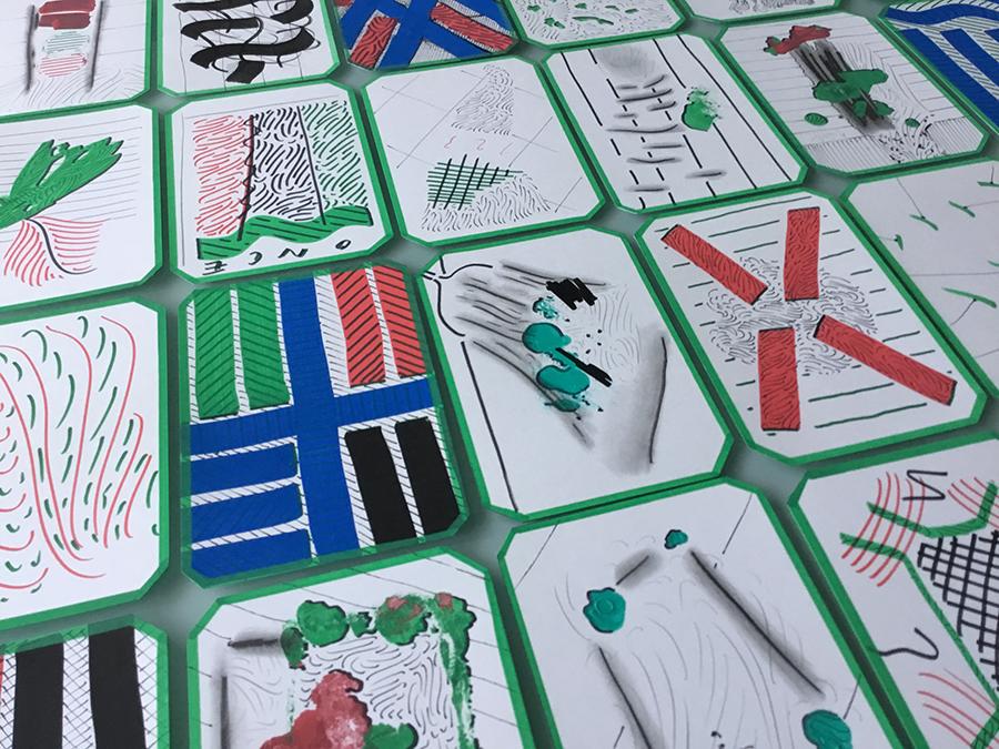 Autor: José Medina Galeote Año: 2018   Título: Cartas. (Juegos de cartas) Técnica: Acrílico sobre papel satinado Medidas: 40 unidades de 15 x 10 cm c/u