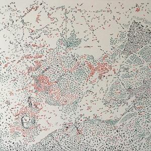 Autor: José Medina Galeote Año: 2018 Título: The fish and fisher Técnica: Óleo sobre lienzo resinado Medidas: 180 x 400 cm.