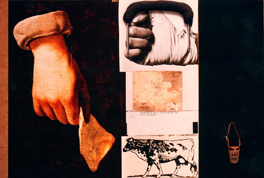 La domesticación de las especies. 1999. Collage, fotografía, acrílico y objetos/madera. 110 x 162 x 8 cms.
