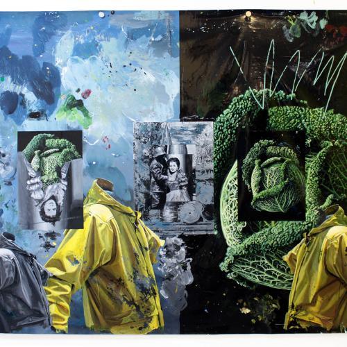 """""""Las Batallitas de Alexandra"""". Lámina de pintura acrílica 145 x 195 cm. 2018"""