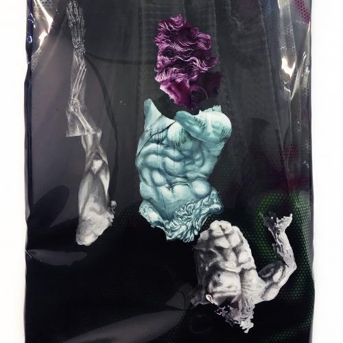 """""""We, the Monsters_AC_001"""". Láminas de pintura acrílica, tela y bastidor 150 x 110 cm. 2020"""
