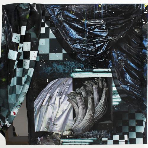 """Pasillo_06"". Lámina de pintura acrílica, tela y bastidor 130 x 130 cm. 2019"