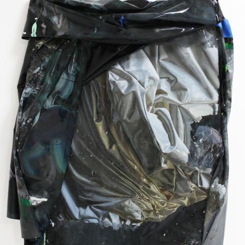 """""""telita04"""". Láminas de pintura acrílica y bastidor 130 x 100 cm. 2019"""