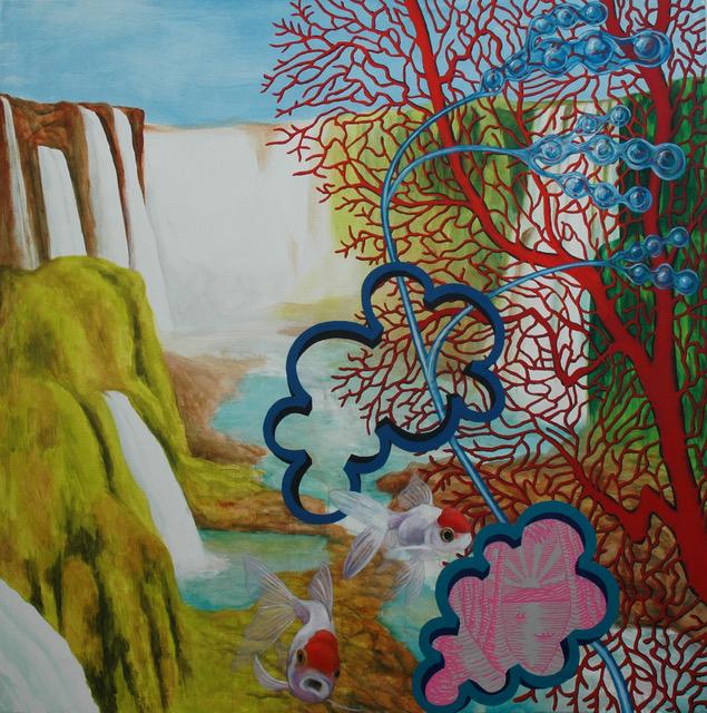 Patricio Cabrera. El cielo cabeza abajo, 2018 Óleo y acrílico sobre tela 200 x 200 cm