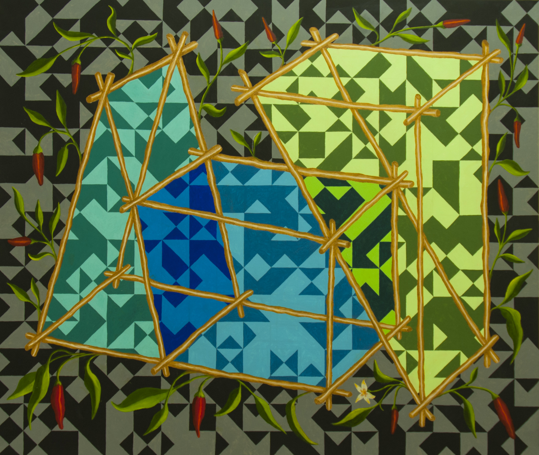 Patricio Cabrera Estructuras con guindillas,2018Acrílico y óleo sobre tela146 x 170cm